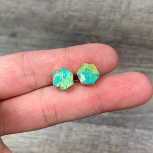 Natural Stone Hexagon Electroplated Stud Earrings